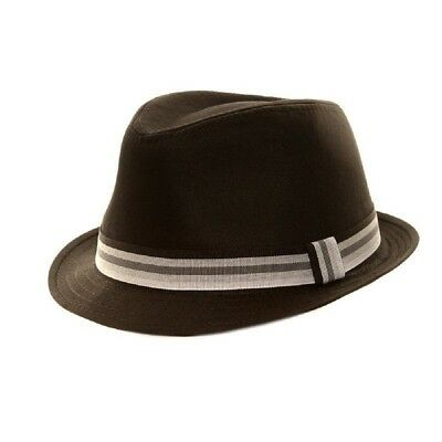 Black 100% Cotton Trilby Gangster Hat Pork Pie With Striped Grey Band 5 Sizes