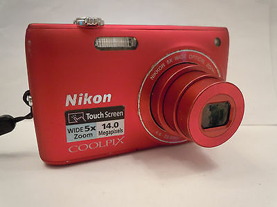 Nikon Coolpix S4100 camera 14MP 5X zoom RED-SD card, charger, battery, warranty