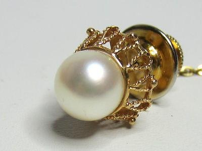 Vintage 18K Solid Y Gold Large White Pearl Filigree Top Man's Tie Tack Pin K18
