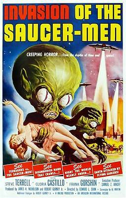 Rare Hollywood `Invasion of the Saucer Men` Sci-Fi Movie Poster Canvas Print