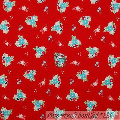 BonEful Fabric FQ Flannel Cotton Quilt Red FLOWER Small White Blue Country Girl