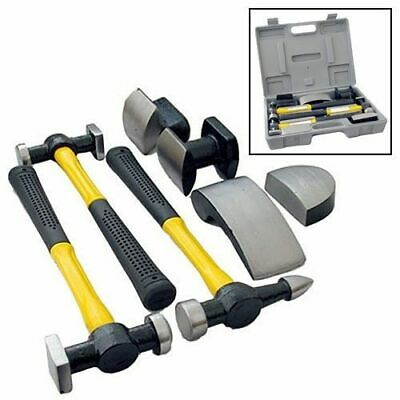 7Pc Car Auto Body Dent Repair Panel Beaters Beating Fibreglass Hammer Kit