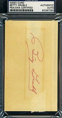 BETTY GRABLE D.73 SIGNED PSA/DNA CERTIFIED 3X5 INDEX AUTOGRAPH