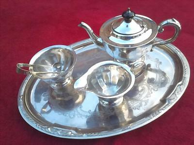 Silver plated EPNS Sheffield teaset tea set teapot sugar bowl and jug with tray
