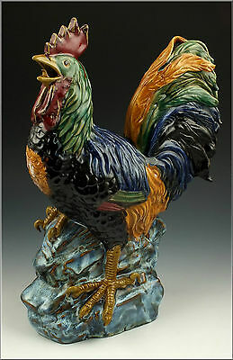 Large Signed Japanese Meiji Period Rooster Statue