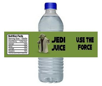 Star Wars Yoda Jedi Birthday Party Water Bottle Labels Favors Personalized