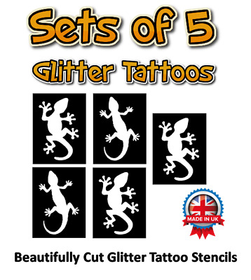 GECKOS glitter tattoo stencils,FREE DELIVERY, great designs, for animal parties