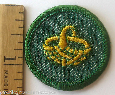 RARE 1955 Girl Scout BASKETRY BADGE Basket Weaving Patch Light Green Edge