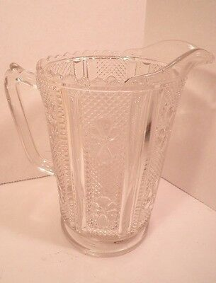 Large Crystal Pressed Pattern Glass Pitcher