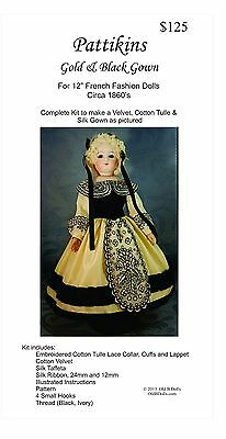 "1860's inspired Velvet,Cotton Tulle and Silk Gown for a 12"" French Fashion Doll"