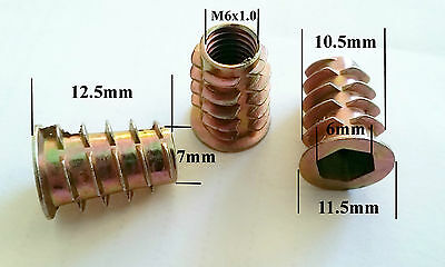 Qty 10 M6 Wood Threaded Flange Inserts Nuts Zinc Plated Steel Alloy Insert Nut