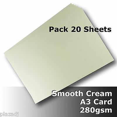 20 Sheets Cream Ivory A3 Card 280gsm Smooth Finish High Quality #H8468