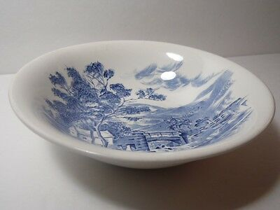 Vintage Blue Countryside Scene Pattern Wedgewood China England SOUP CEREAL BOWL