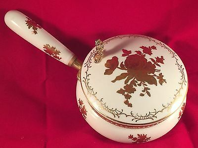 Beautiful Decorative Oriental Bowl With lid Floral Print and Gold Trim