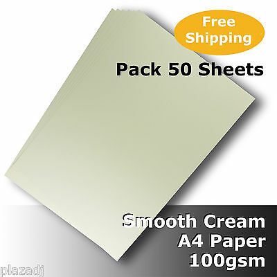 50 Sheets Cream Ivory A4 Paper 100gsm Smooth Finish High Quality #H8411 #D5