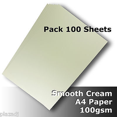 100 Sheets Cream Ivory A4 Paper 100gsm Smooth Finish High Quality #H8411