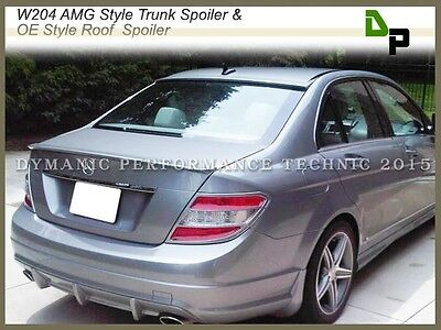 #775 Silver AMG Trunk Spoiler & OE Roof Wing For M-BENZ W204 C-Class Sedan 08-14