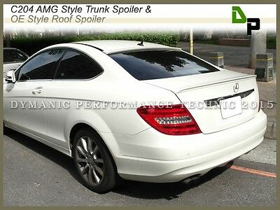 #650 White AMG Trunk Spoiler & OE Roof Wing For M-BENZ C204 C-Class Coupe 12-14
