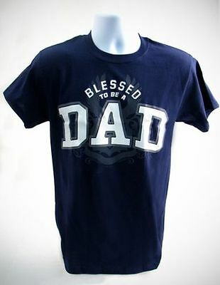 Blessed To Be A Dad Shirt, Navy, X-Large (46-48)
