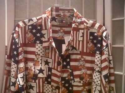 DON'T MESS WITH TEXAS Brand Patchwork Blouse Or Cowgirl Jacket, Size M -NWT