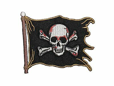 Jolly Roger Pirate Flag Nautical Iron On Embroidered Patch P3694