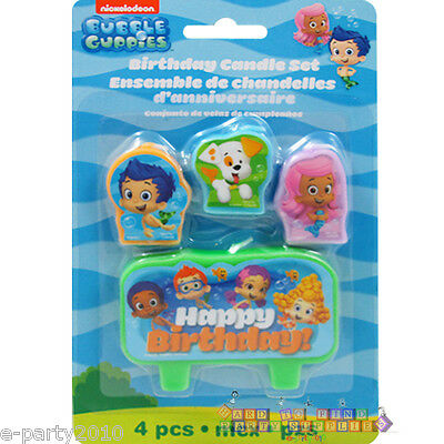 BUBBLE GUPPIES MINI CANDLE SET (4pc) ~ Birthday Party Supplies Cake Decorations