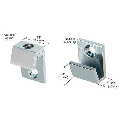 "CRL Brushed Nickel 5/8"" Wide Beveled Mirror Clip Set"