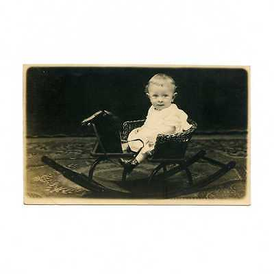 """Baby in """"Rocking Bronco"""" Chair Real Photo Postcard #7019"""