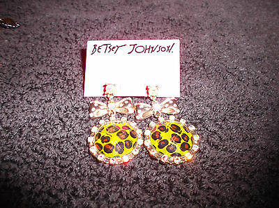 Authentic NWT Betsey Johnson Earrings Asian Green Leopard Bow Crystal Dangle