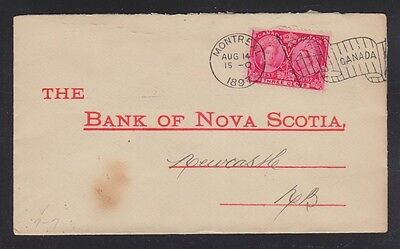 CANADA 1897 #7-17 MONTREAL FLAG CANCEL COVER TO NEWCASTLE NEW BRUNSWICK