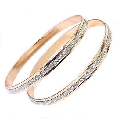 Hot Fashion Womens Jewelry Double Ring Rose Gold Cuff Bracelet Bangle Chain New