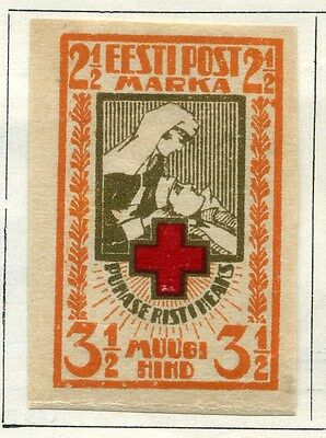 ESTONIA;  1921 early Imperf Red Cross issue fine Mint hinged  3.5M