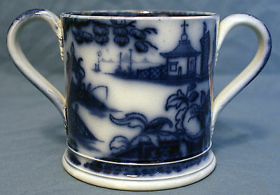 "Flow Blue  Two-Handled Mug (TYG) ""Temple"" Pattern"