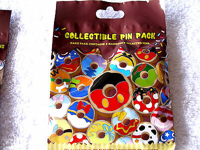 Disney * CHARACTER DONUTS * New & Sealed * 5-pin Collectible Mystery Pin Pack