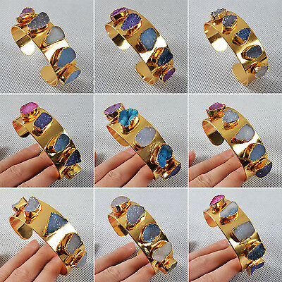 Cool! Multi Color Agate Druzy Geode Bangle AG108