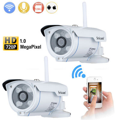 2X Telecamera IP Camera 720P HD IR-CUT Wireless Wifi ONVIF Kit Videosorveglianza