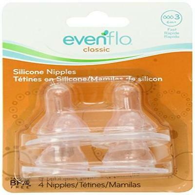 Evenflo 4 Pack Classic Silicone Nipple Fast Flow Baby Toddler Kids New  Gift