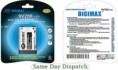 3X DIGIMAX 9V 280mAh Ni-MH Rechargeable Battery PP3 - Free P&P High Quality New