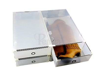 Periea PACK OF 4 Plastic Shoe/Boot Storage Drawers, STRONG metal frame, Underbed