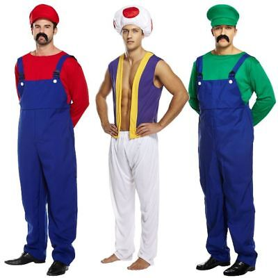 Adult Mens Super Work Man Mario Mushroom Toad Plumber Fancy Dress Costume Outfit
