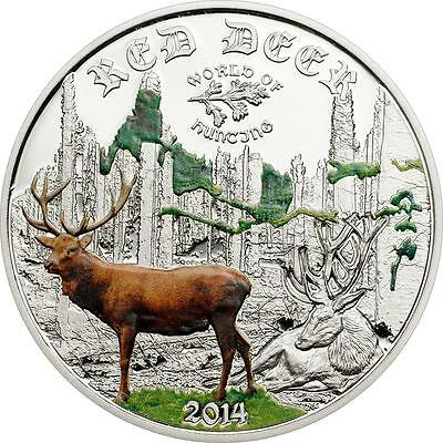 Cook Islands 2014 $2 World of Hunting - Red Deer 1/2 Oz Silver Proof Coin