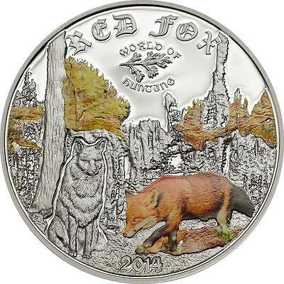 Cook Islands 2014 $2 World of Hunting II Red Fox 1/2 Oz Silver Proof Coin