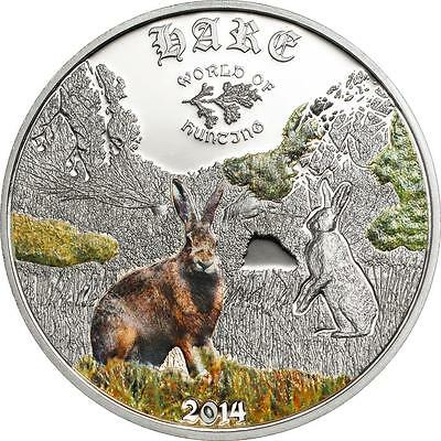 Cook Islands 2014 $2 World of Hunting III Hare 1/2 Oz Silver Proof Coin