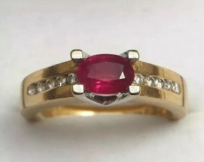 Vintage 18 Carat Yellow Gold Solitaire Ruby & Diamond Dress Ring