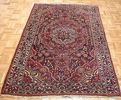 4x7 Persian Oriental Jozan Sarouk Hand Knotted Navy Red Wool Area Rug Carpet
