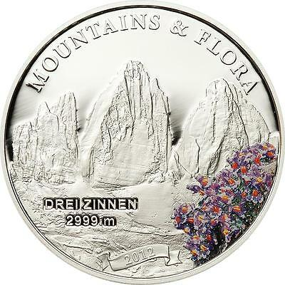Palau 2012 $5 Mountains & Flora Drei Zinnen Italy 20g Silver Proof Coin