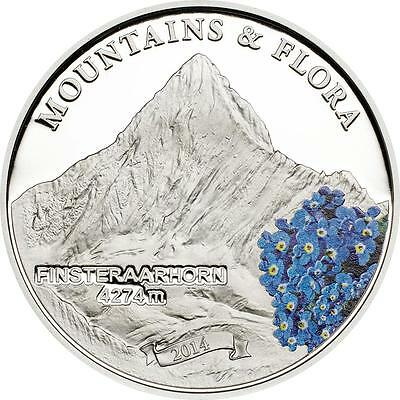 Palau 2014 $5 Mountains and Flora 2014 I Finsteraarhorn 20g Silver Proof Coin