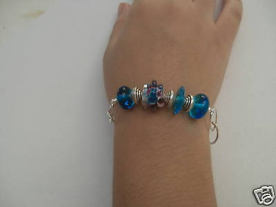 Modern Bracelet in Blue Lampwork Crystal Beads  and Sterling Silver (925)