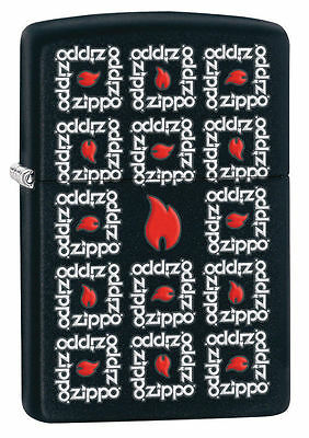 Zippo Windproof Black Matte Lighter With Logos And Flames, # 28667, New In Box