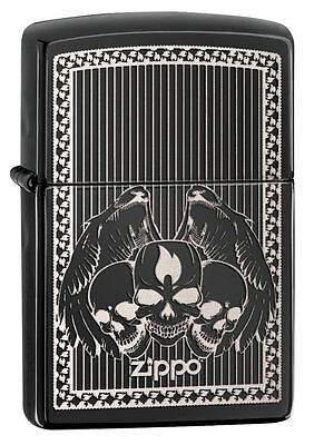 Zippo Windproof Ebony Lighter With Zippo Logo and Skulls, # 28678, New In Box